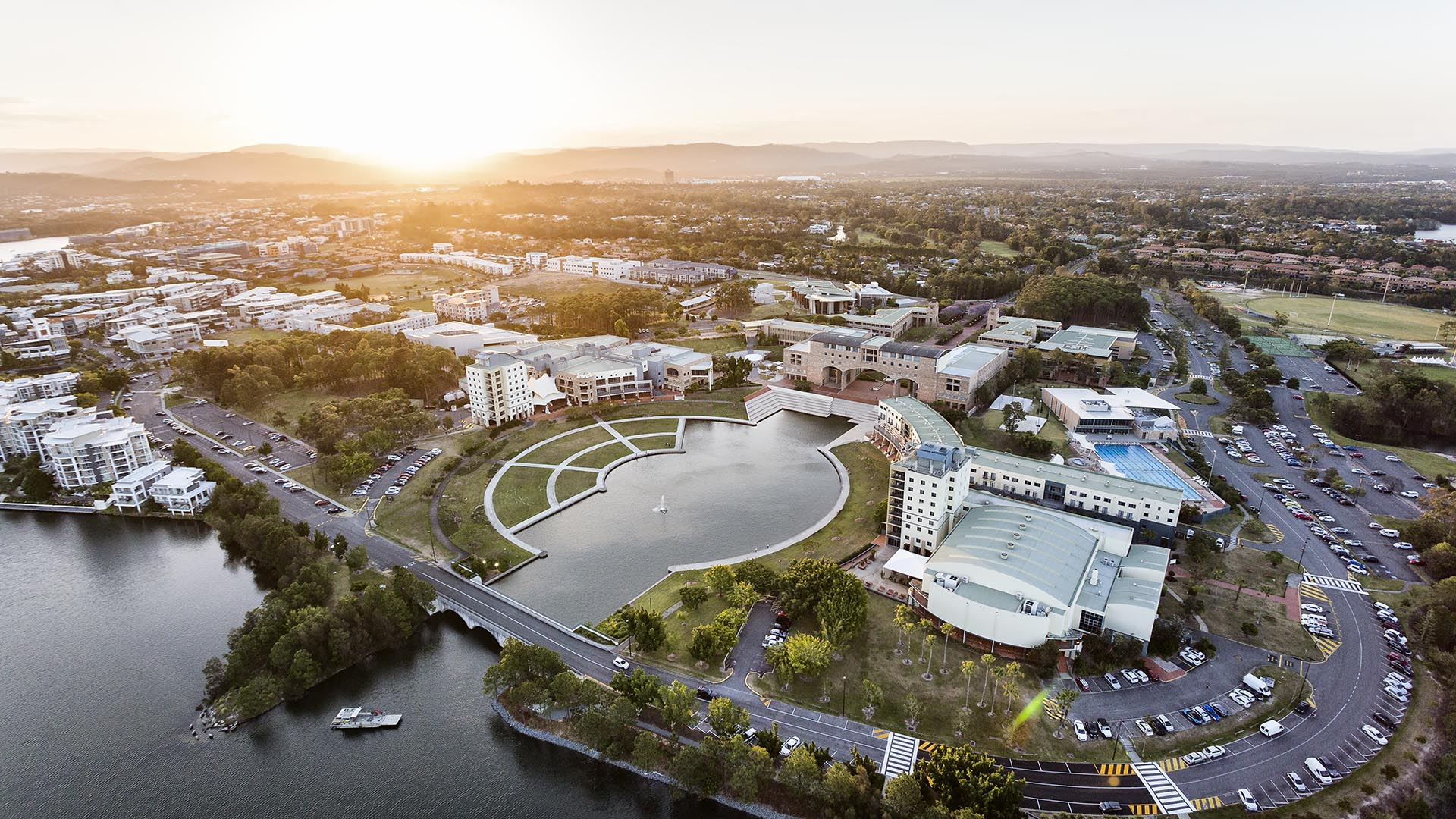 Aerial drone photography of Bond University.