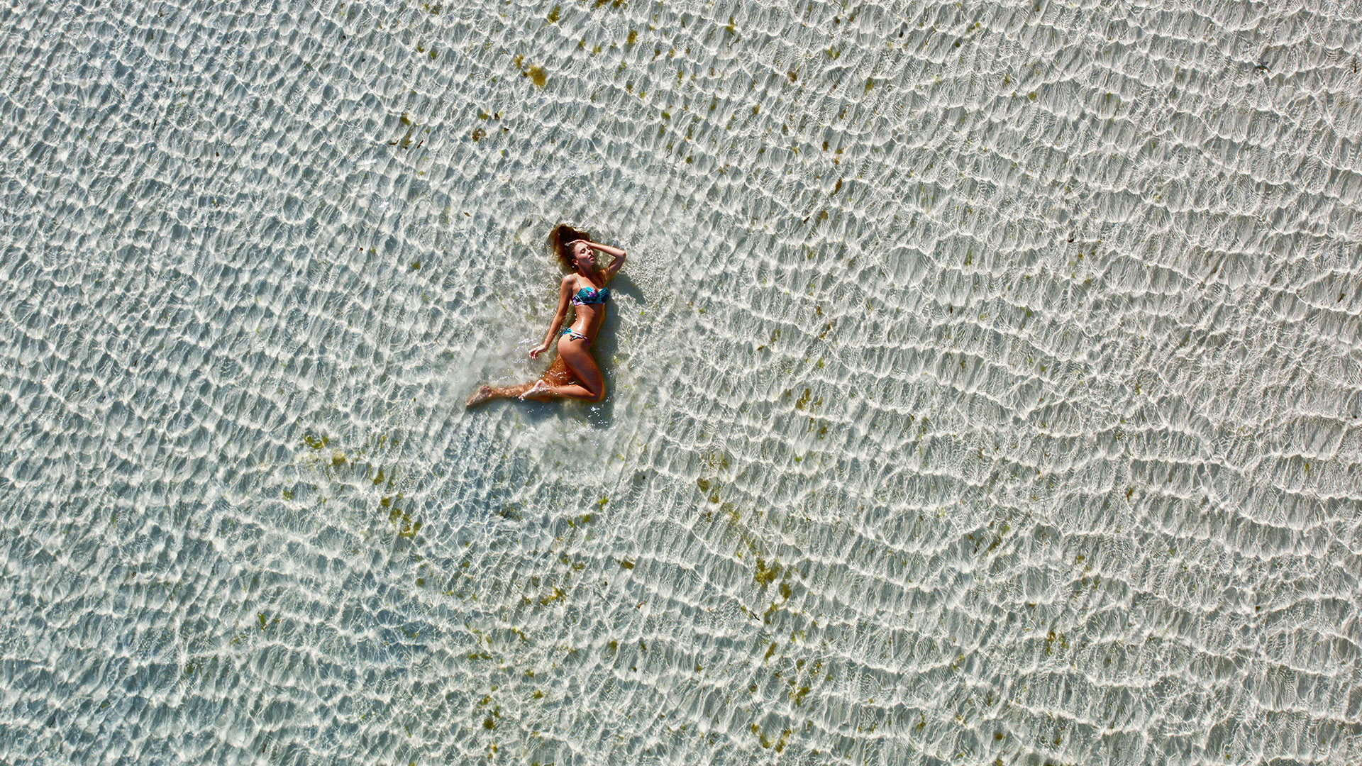 Drone Shot Of Bikini Model