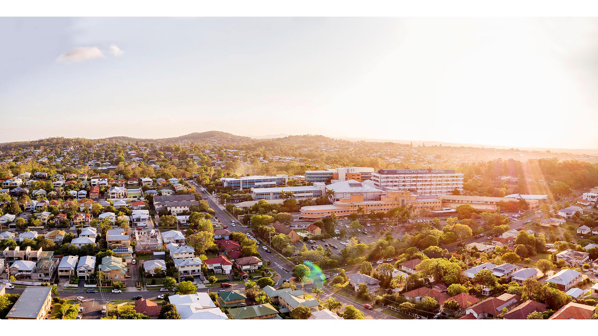 Aerial drone photography of Greenslopes Private Hospital.