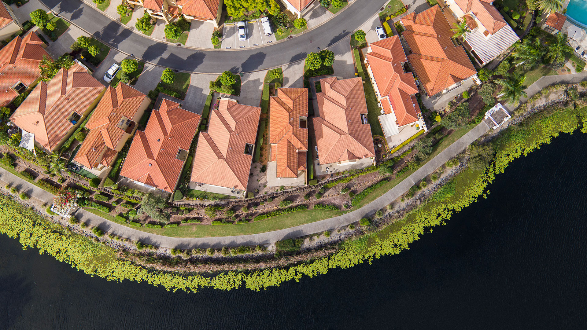 Aerial drone photography for real estate sales at Robina. © FLYFILM